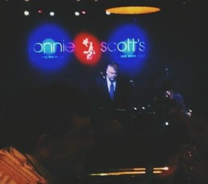 Jazz Band UK. Jeff Williams, bandleader of the Swamp Dogs, in the spotlight, performing with the band recently at Ronnie Scott's.