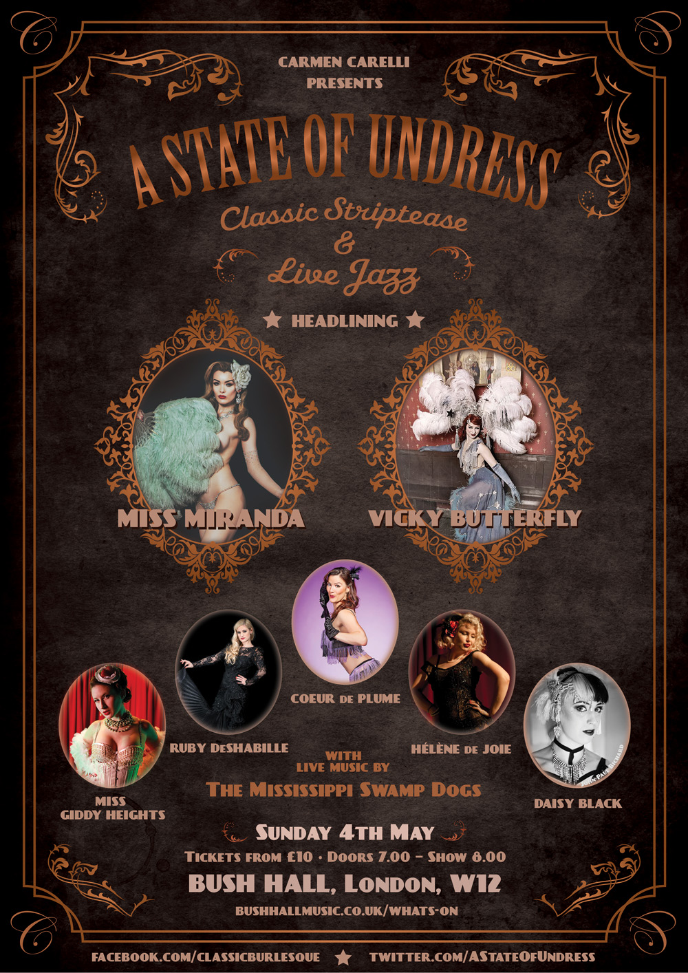 A poster for the The Swamp Dogs playing for a Burlesque Evening