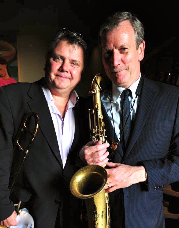 Swing Band Hire. Swamp Lounge bandleader Jeff Williams with stalwart band member Al Nicholls