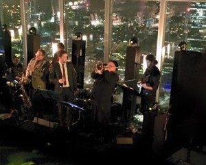 London Jazz Band Hire. New Years Eve up the Shard. The band entertains the party goers.