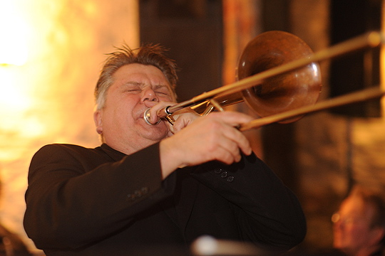 Jeff Williams, trombone, vocals and bandleader. A much loved individual, especially by his band members.