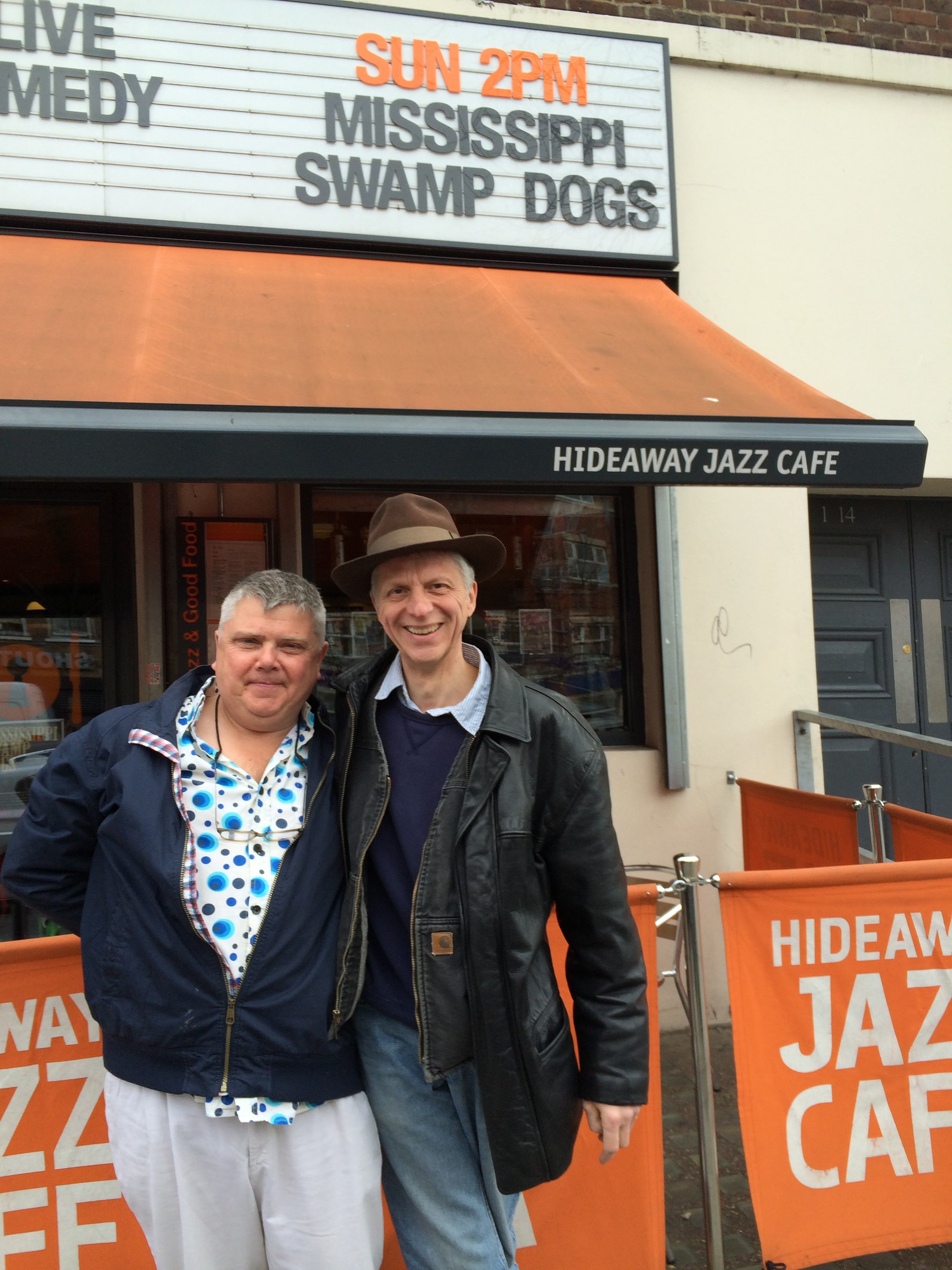 Jeff and Jonno, Mississippi Swamp Dog members outside the Hideaway Jazz Cafe in South London before another triumph of a gig!