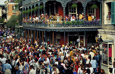 Mardi Gras New Orleans 2015. Dancing in the Streets. Jazz bands playing.