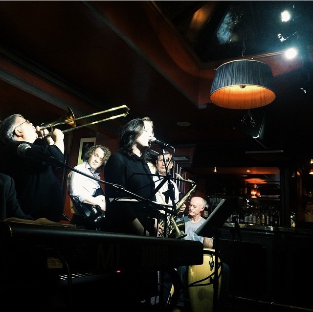 Live onstage playing for a dance crowd. Jazz Band hire London