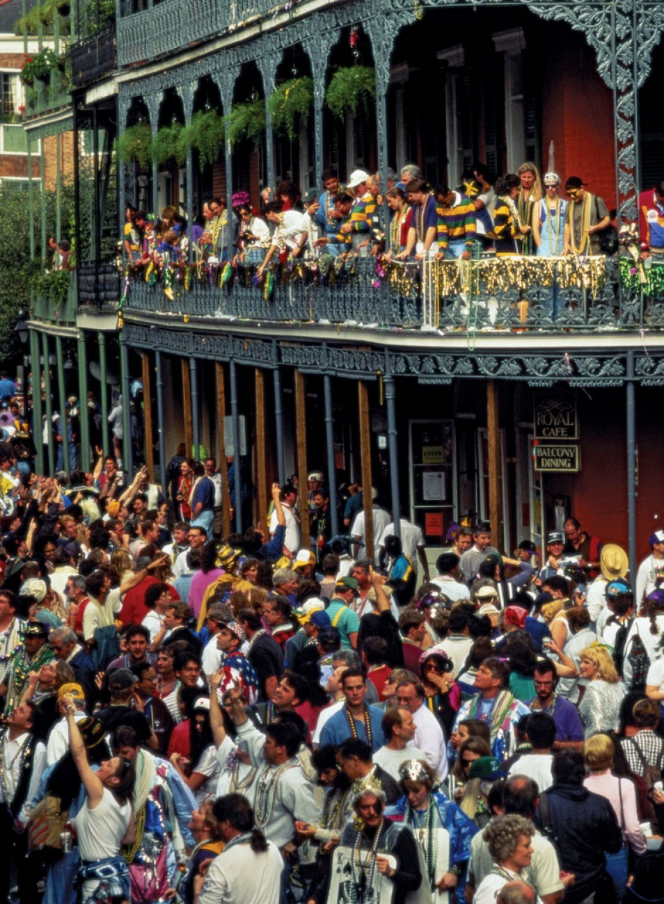 Mardi Gras 2015. A large crowd dancing in the Streets of the French Quarter