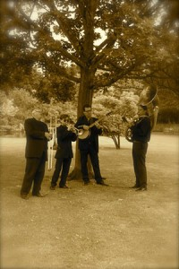 New Orleans Funeral Jazz Band-playing under a tree after the service