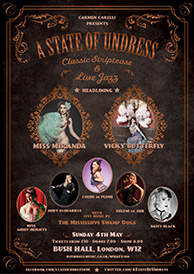 A poster featuring the Swamp Dogs Burlesque Band